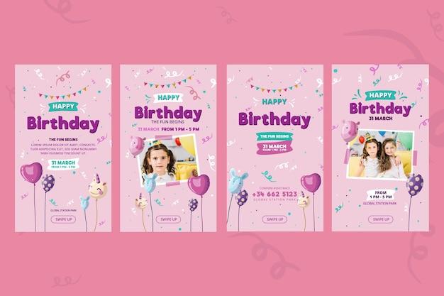Children's verjaardag instagram verhalen sjabloon
