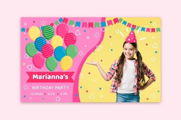 Children's verjaardag kaart uitnodiging sjabloon