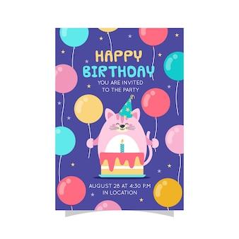 Children's verjaardag kaartsjabloon met cake
