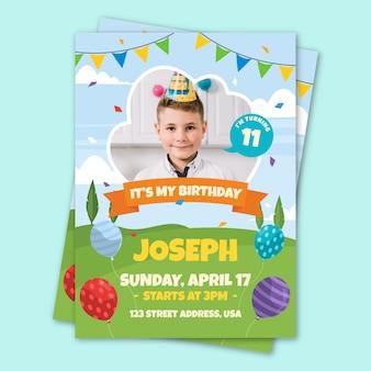 Children's verjaardag kaartsjabloon met foto