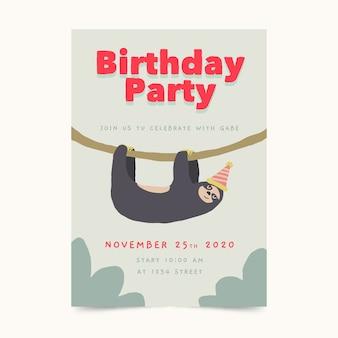 Children's verjaardag kaartsjabloon met luiaard
