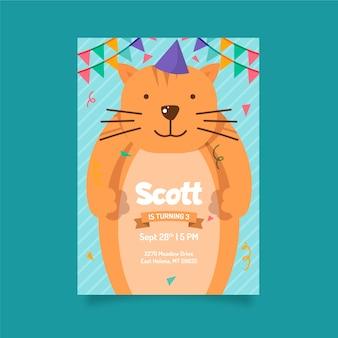 Children's verjaardag kaartsjabloon stijl