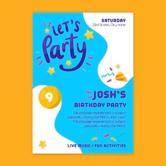 Children's verjaardag poster sjabloon