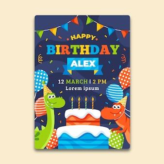Children's verjaardag uitnodiging sjabloon met ballonnen en dinosaurussen