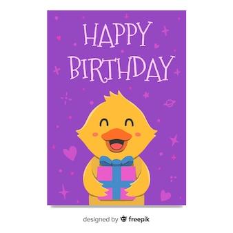 Children's verjaardag uitnodiging sjabloon met eend