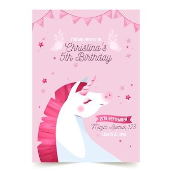 Children's verjaardag uitnodiging sjabloon met eenhoorn