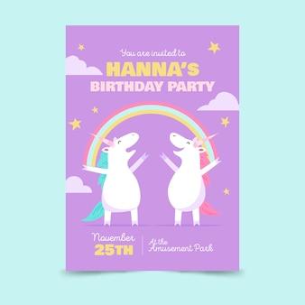 Children's verjaardag uitnodiging sjabloon met eenhoorns