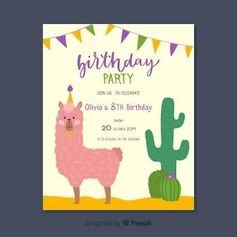 Children's verjaardag uitnodiging sjabloon met lama