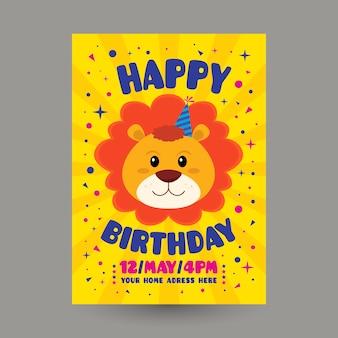Children's verjaardag uitnodiging sjabloon met leeuw