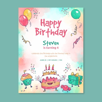 Children's verjaardag uitnodiging sjabloon