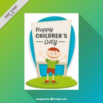 Children's wenskaart van een kerel met een bord