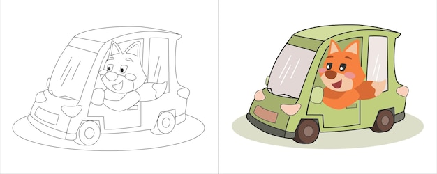 Childrens coloring book illustratie vos rijden mini groene auto