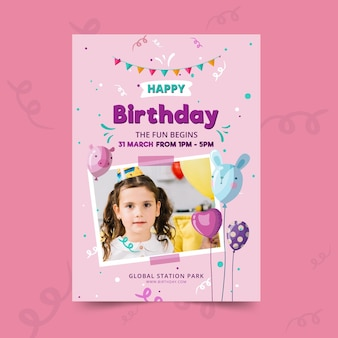 Childrens verjaardag poster sjabloon