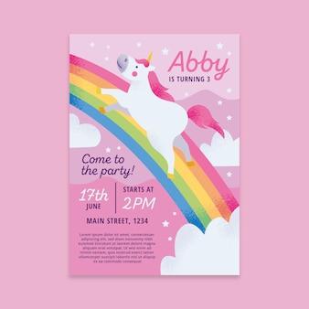 Childrens verjaardag uitnodiging sjabloon concept