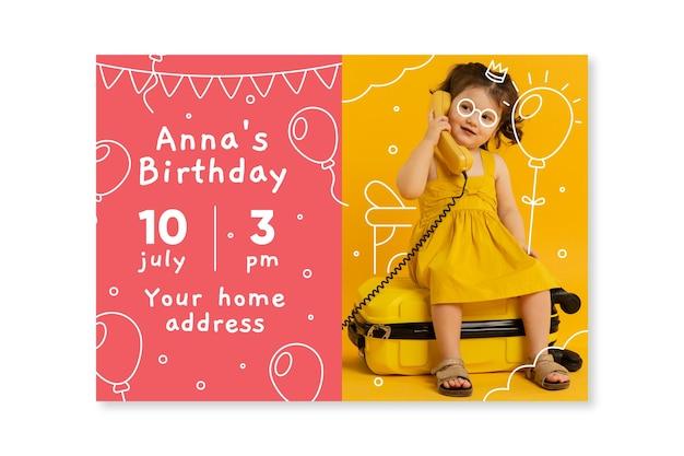 Childrens verjaardagskaartsjabloon