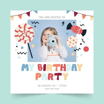 Childrens verjaardagsuitnodiging ontwerp