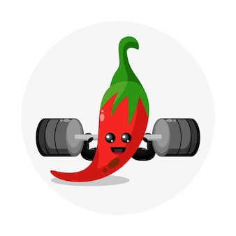 Chili barbell schattig karakter logo