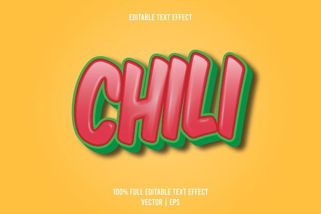 Chili bewerkbaar teksteffect 3-dimensionaal reliëf cartoonstijl