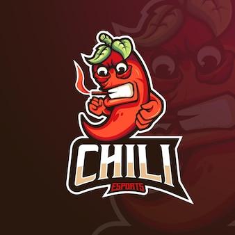 Chili gaming mascotte logo ontwerp illustratie vector
