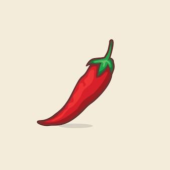 Chili geïsoleerde vectorillustratie met overzicht cartoon eenvoudige kleur