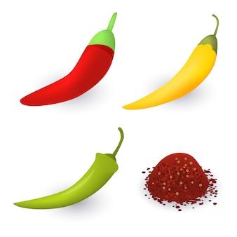 Chili iconen set, isometrische stijl