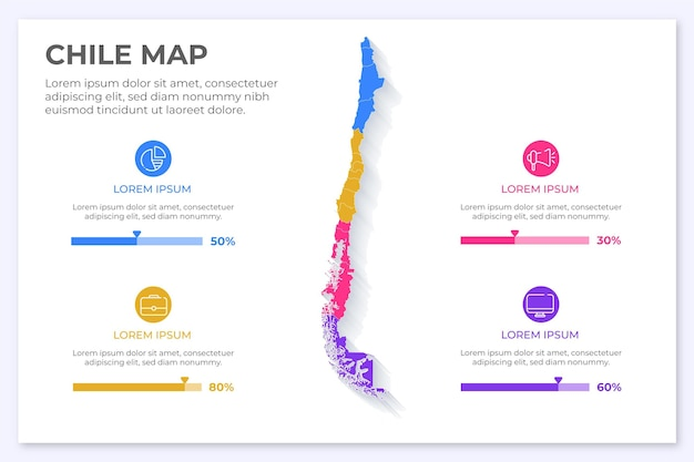 Chili kaart infographic in plat ontwerp