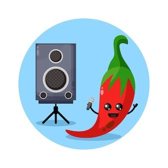 Chili karaoke schattig karakterlogo