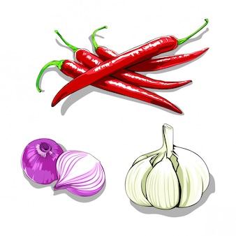 Chili, knoflook en ui