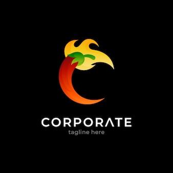 Chili letter c logo concept