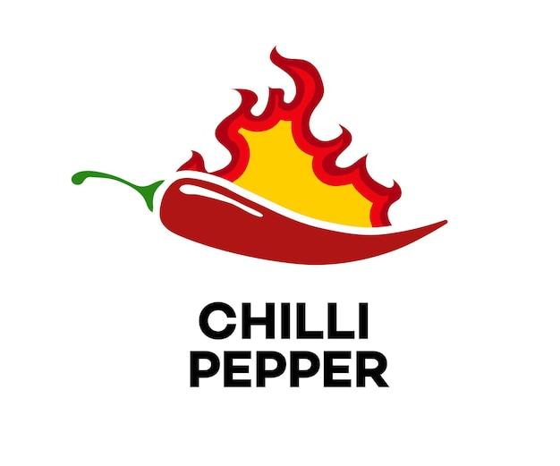Chili peper vector label geïsoleerd op de achtergrond voor pittig eten menu hete saus culinaire show peper
