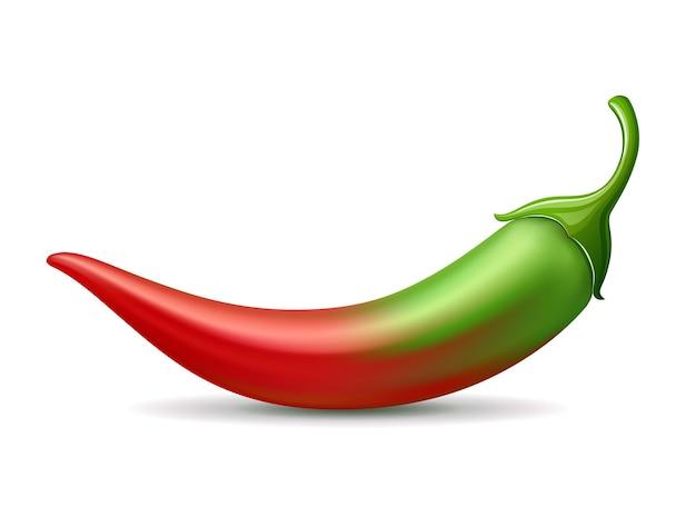 Chili pepers groene kleurovergang rode kleur zacht ontwerp op witte achtergrond eps 10 vectorillustratie