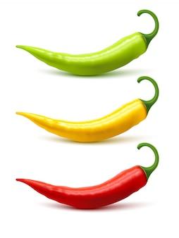 Chili pepper pods instellen realistische schaduw