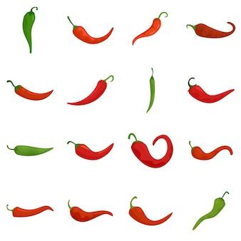 Chili pictogrammen instellen. platte set van chili vector iconen geïsoleerd op een witte achtergrond