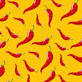 Chili plantaardige patroon achtergrond