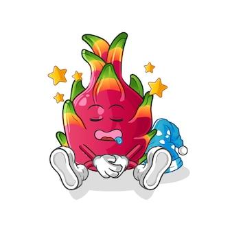 Chili slapend karakter. cartoon mascotte