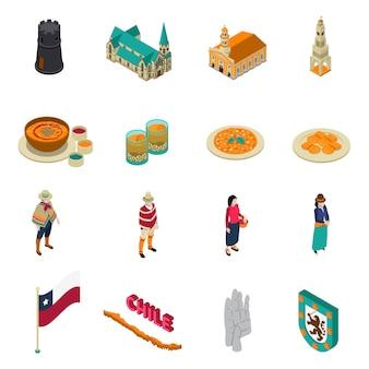 Chili toeristische bezienswaardigheden isometrische icons set