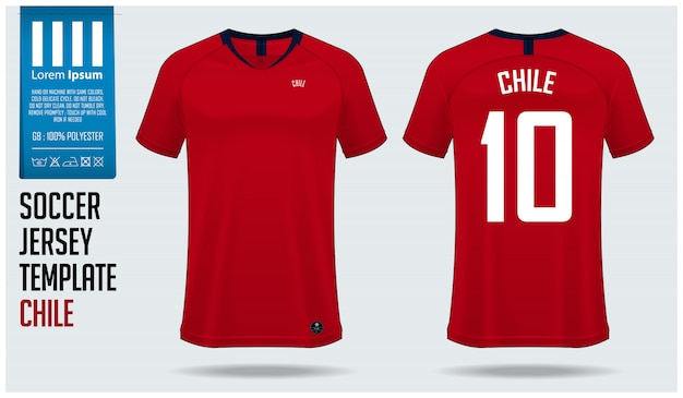 Chili voetbal jersey mockup of voetbal kit sjabloon.