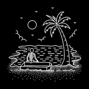 Chill out or die monoline-illustratie