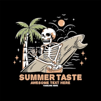 Chill schedel met surfplank op het strand