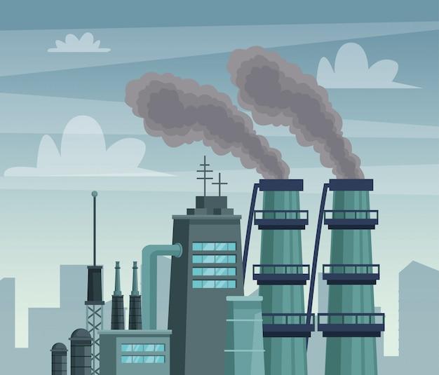 Chimeny-fabriek vervuilt de luchtscène