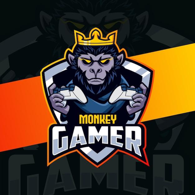 Chimpansee aap gamer mascotte esport logo ontwerp