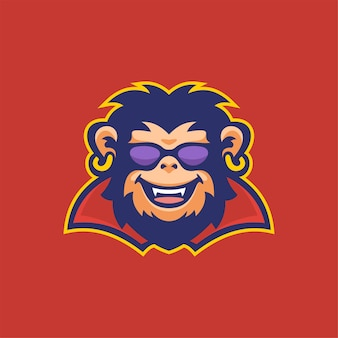 Chimpansee dierlijk hoofd logo sjabloon illustratie. esport logo gaming premium vector