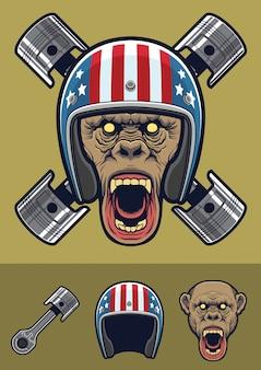 Chimpansee met vintage racer helm