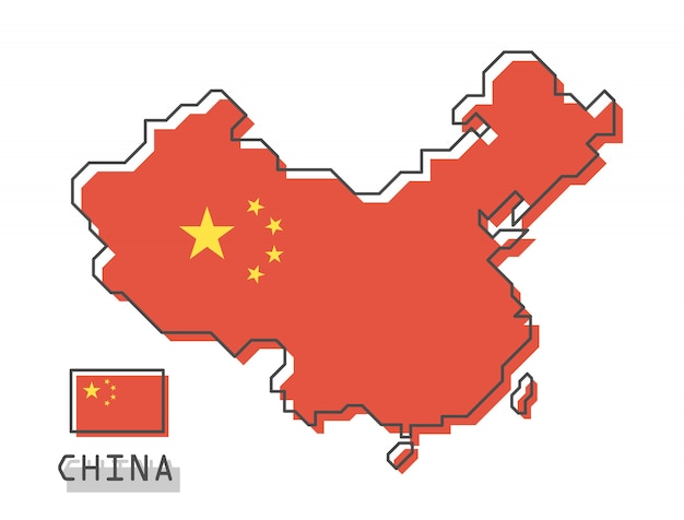 China kaart en vlag