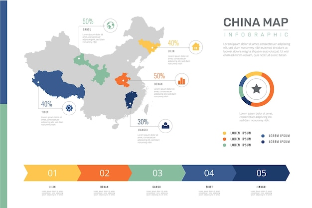 China kaart infographic in plat ontwerp