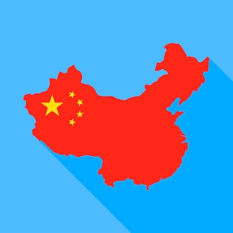 China kaart met lange schaduw