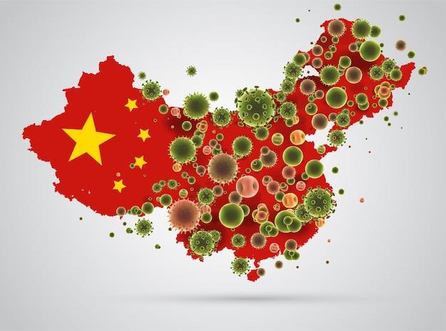 China kaart van coronavirus