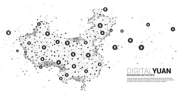 China kaart van polygon dot connect line en digitale yuan. concept voor financiële digitale het netwerkverbinding van china.