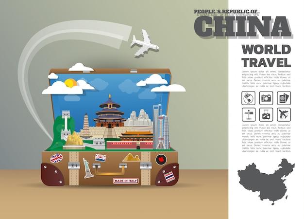China landmark global travel and journey infographic-bagage