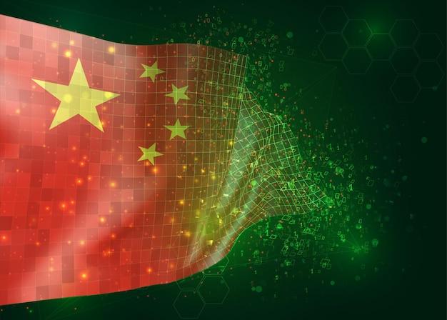 China, op vector 3d-vlag op groene achtergrond met veelhoeken en gegevensnummers